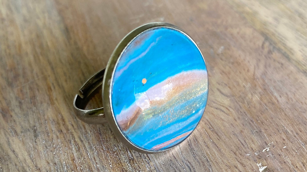 Handpainted Adjustable Ring - Beach Vibes
