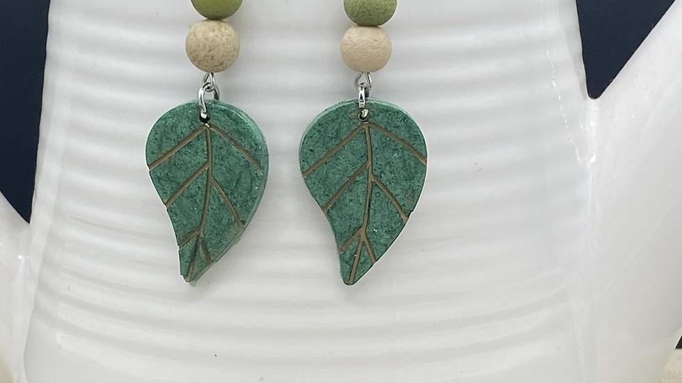 Leaf with Beads Dangle Earrings
