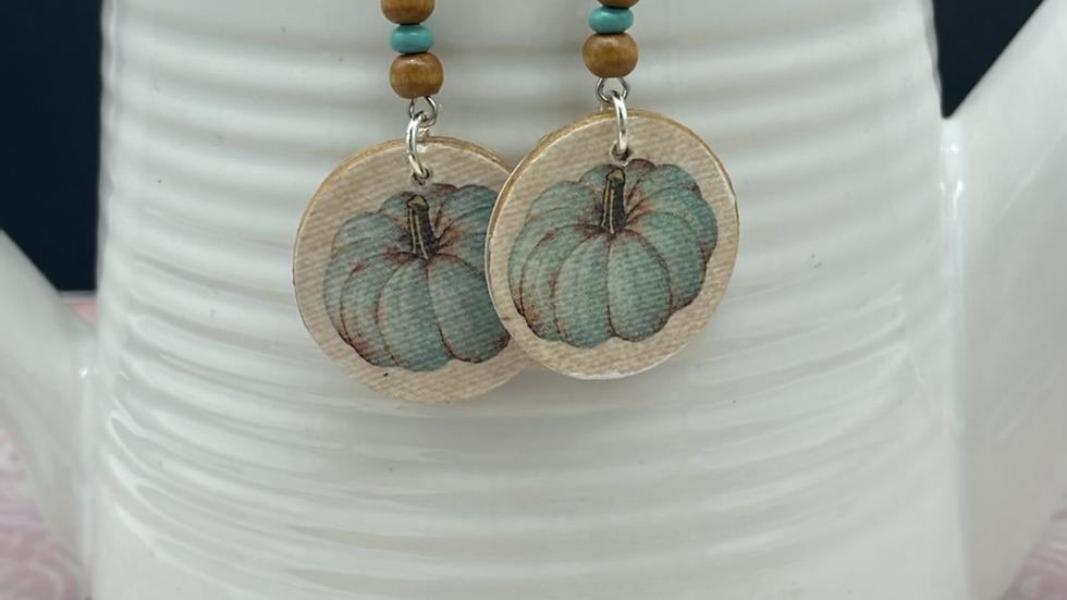 Two Tone Pumkin Dangle Earrings