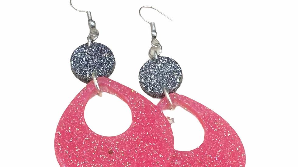 Pink/Black Dangle Earrings
