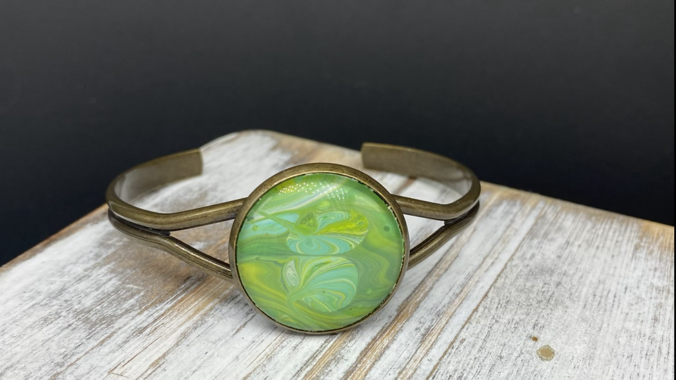Fluid Art Bangle Bracelet - Nature Inspired