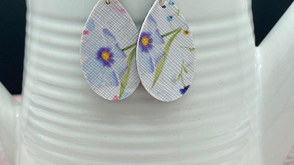 Blue Floral Dangle Earrings