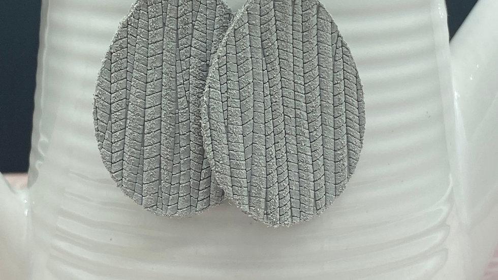Gray Leather Earrings