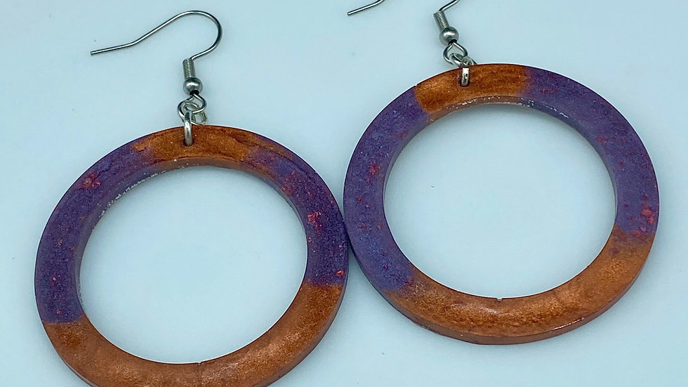Two Tone Resin Hoops ~ Rust/Purple