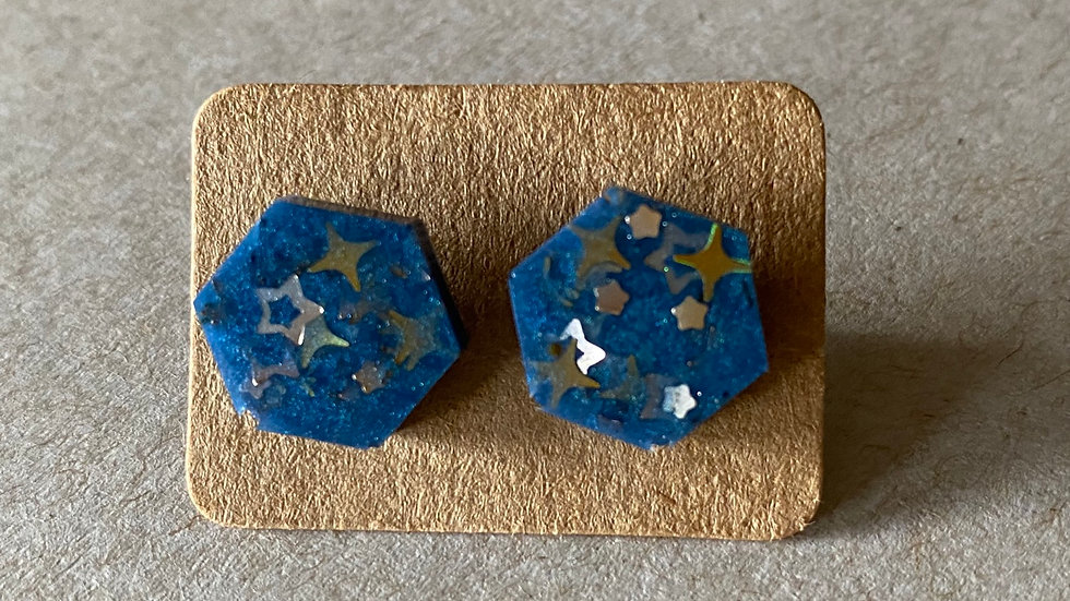 Blue Hexagon Earrings