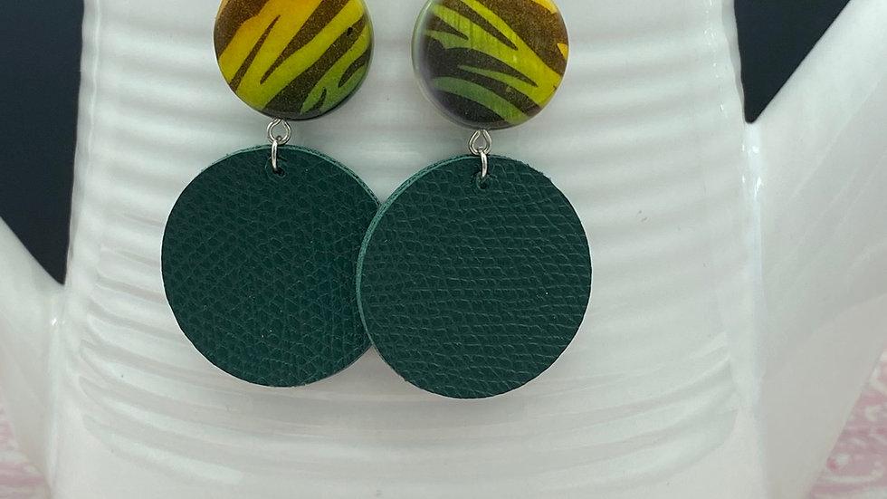 Two Tone Green Animal Print Earrings