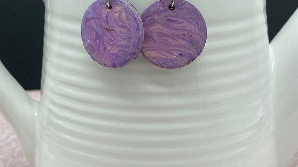 Handpainted Purple Earrings