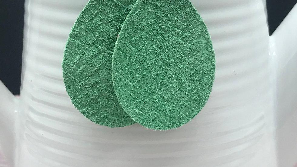 Summer Green Genuine Leather Dangle Earrings