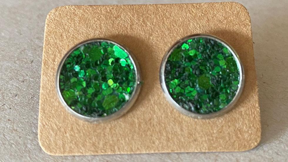 Green Glitter Stud Earrings