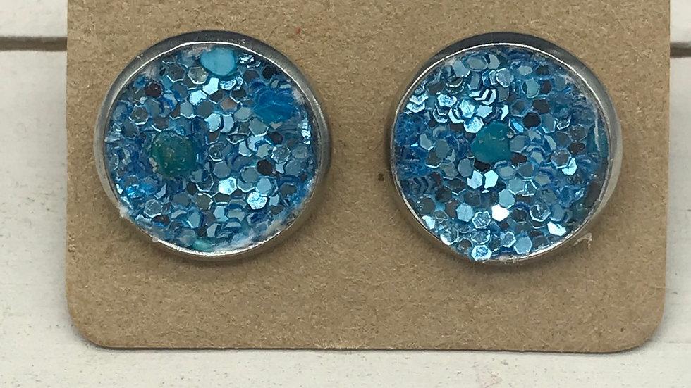 Aqua Glitter Studs