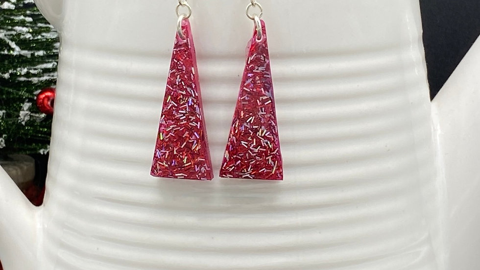 Classy Red Glitter Earrings