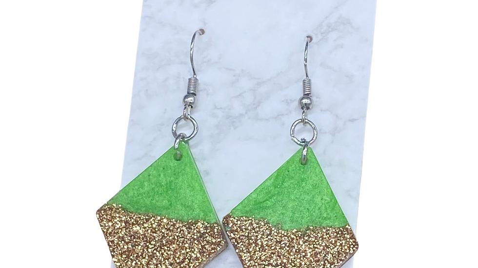 Gold/Green Diamond Earrings