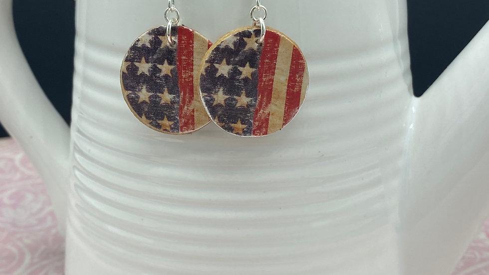 Americana Wood Circle Earrings