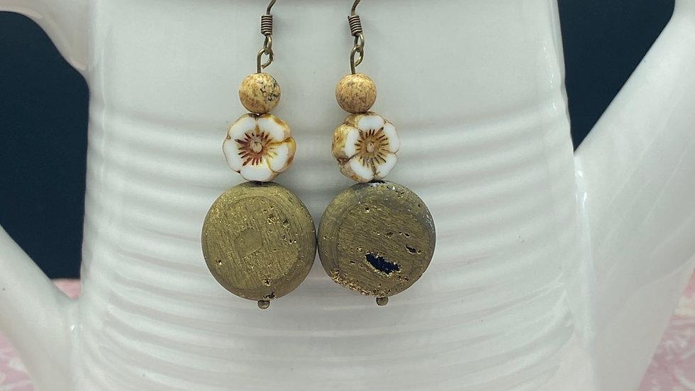 Neutral Floral Stone Dangle Earrings