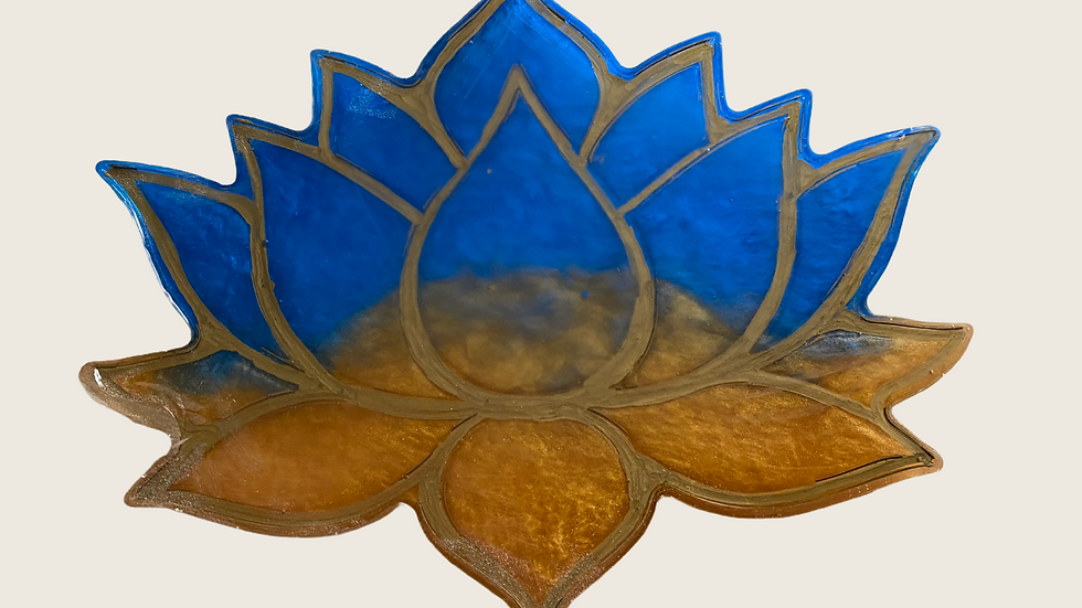 Lotus Coaster ~ Blue/Gold