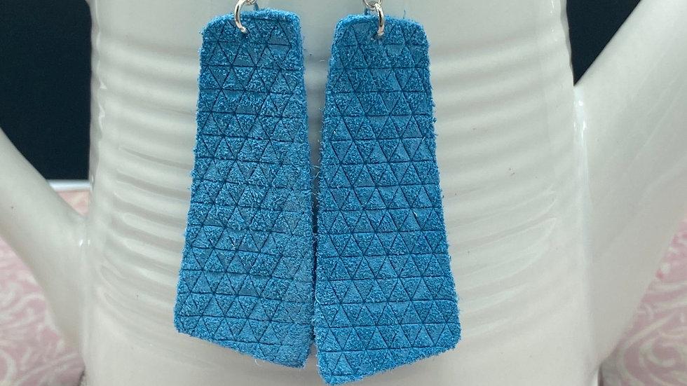 Sky Blue Geometric Leather Earrings