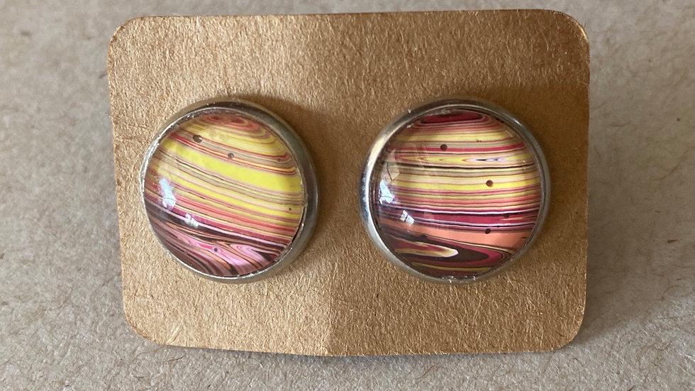 Yellow/Pink Stud Earrings