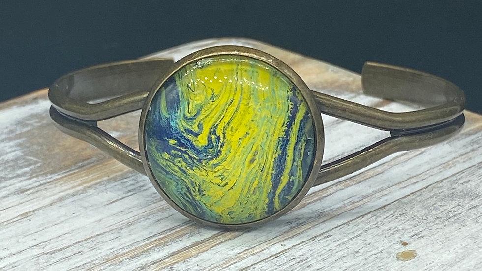 Fluid Paint Bangle Bracelet - Green/Yellow