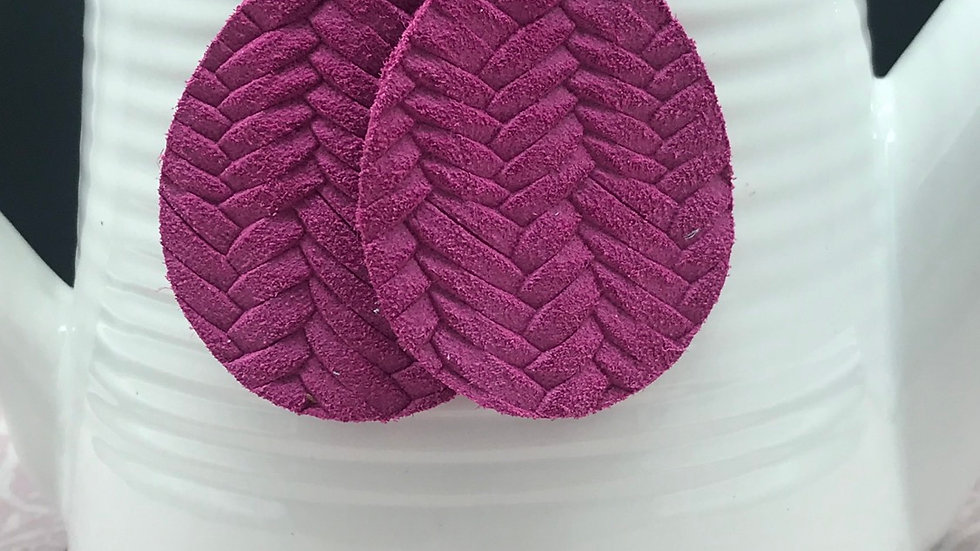 Magenta Genuine Leather Fishtail Braid