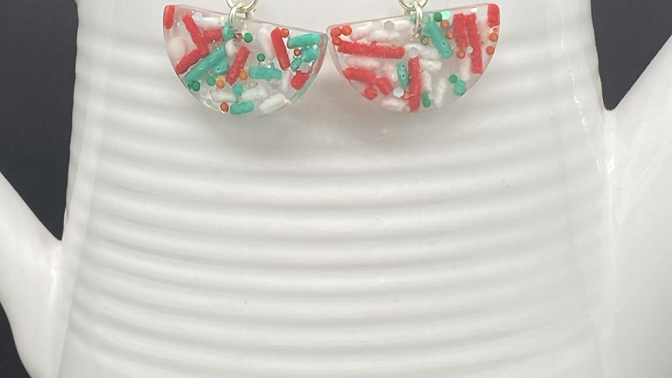 Half Circle Holiday Sprinkles Earrings