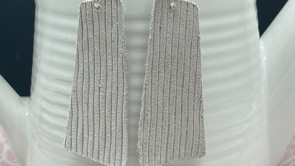 Frosty White  Leather Earrings