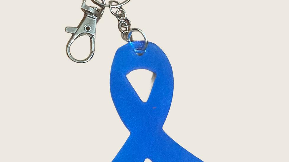 Blue Ribbon Awareness Keychain