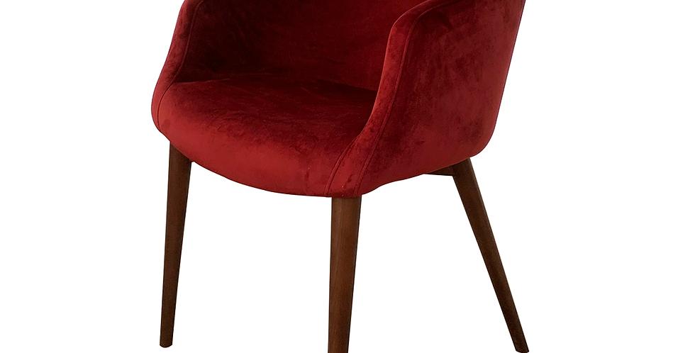 Ghế gỗ tần bì bọc nhung đỏ rượu CH-008