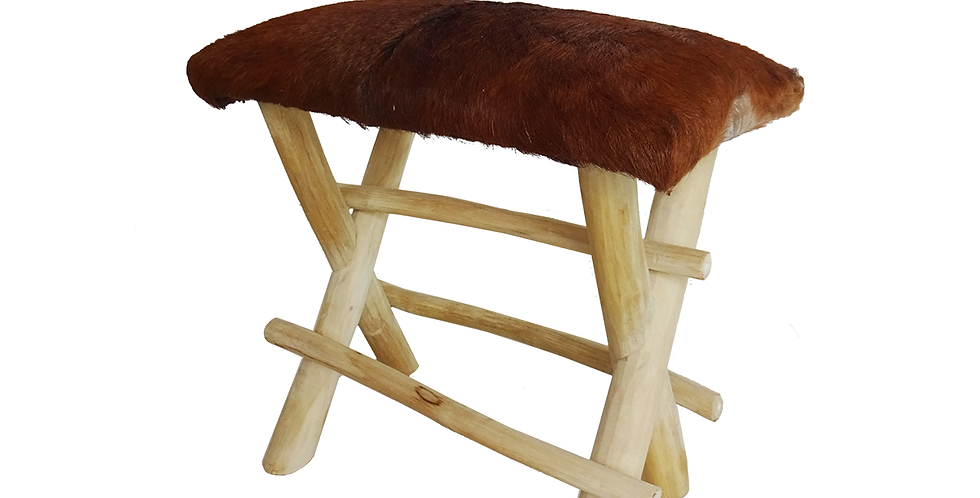 Ghế đẩu chân gỗ bọc da nâu ST-003