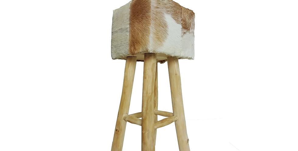 Ghế Bar nệm vuông phối trắng nâu ST-002