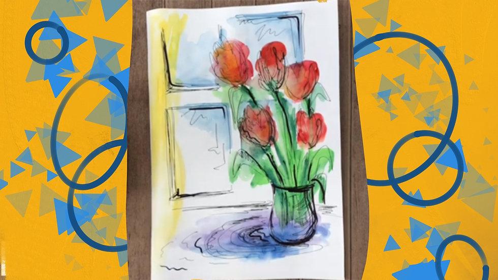 Рисуем цветы .6-10 лет. Акварель. Графика