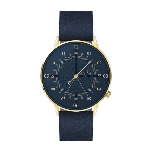 MONTRE LOUIS BLEUE & OR – CUIR BLEU