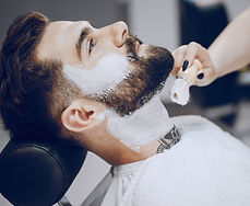 Man getting a neck shave