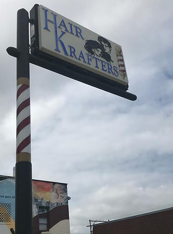 Hair Krafters Sign outside Emporia Kansas Commercial St