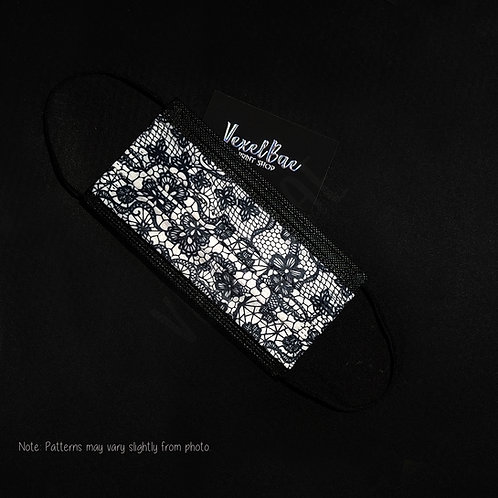 Black Lace Print   Disposable Mask
