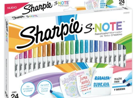 Marcadores resaltadores SHARPIE NOTE x  24