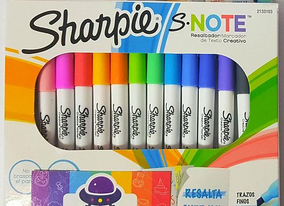 Resaltador marcador sharpie NOTE creativo x 12