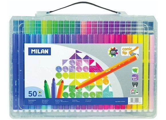Super Valija de Marcadores - fibras  punta conica MILAN x 50