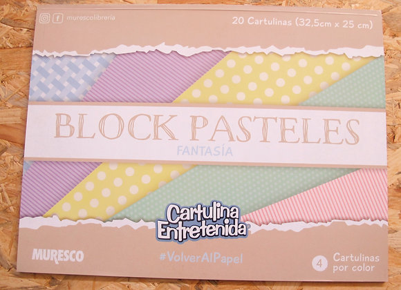 Block CARTULINA ENTRETENIDA PASTEL SURTIDA