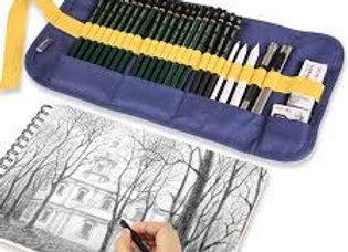 Set de dibujo arte completo  -ESTUCHE x  26 piezas