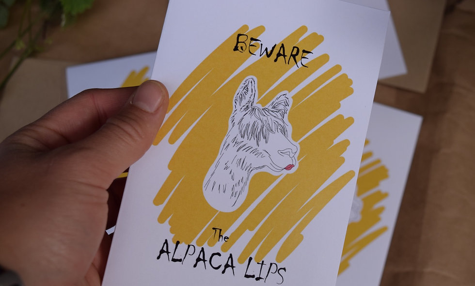 Hand Drawn Alpaca Lips Card