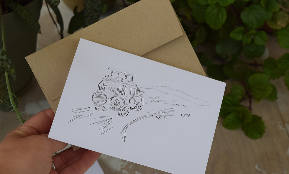Happy Travels Truck - Hand Sketched Card
