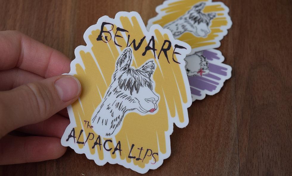 Hand Drawn Alpaca Lips Sticker