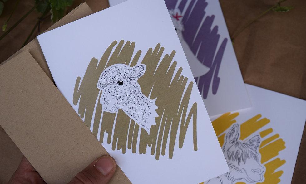 Hand Drawn Nanny Alpaca Card