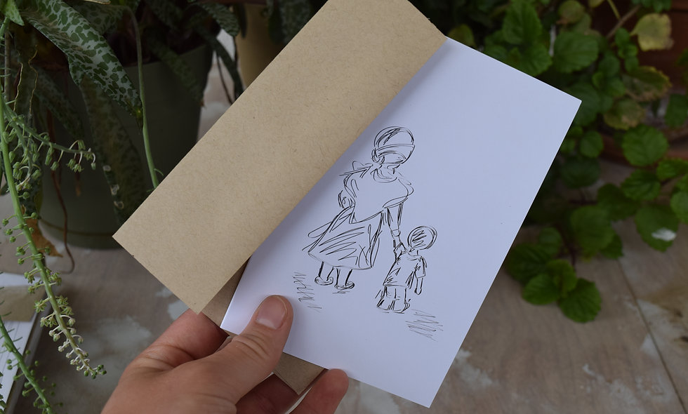 A Hand to Hold - Hand Sketched Card