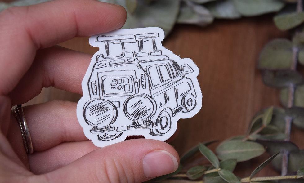 Hand Drawn Happy Trails Safari Truck Sticker