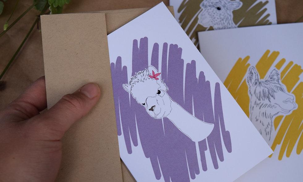 Hand Drawn Envy Alpaca Card