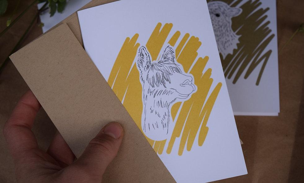 Hand Drawn Andante Alpaca Card