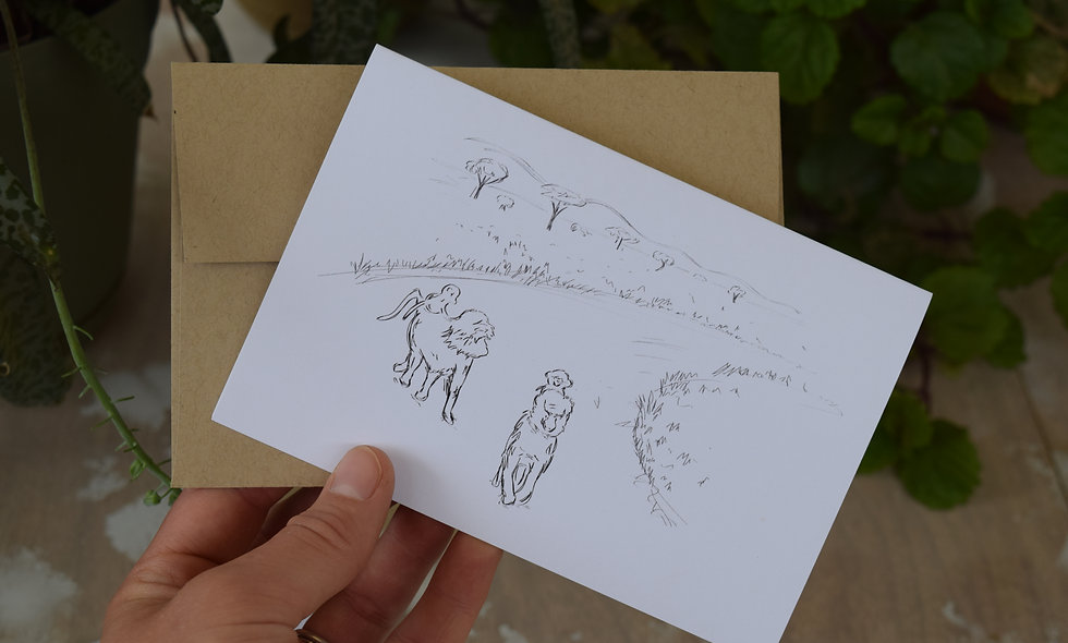 Baboons! - Hand Sketched Card