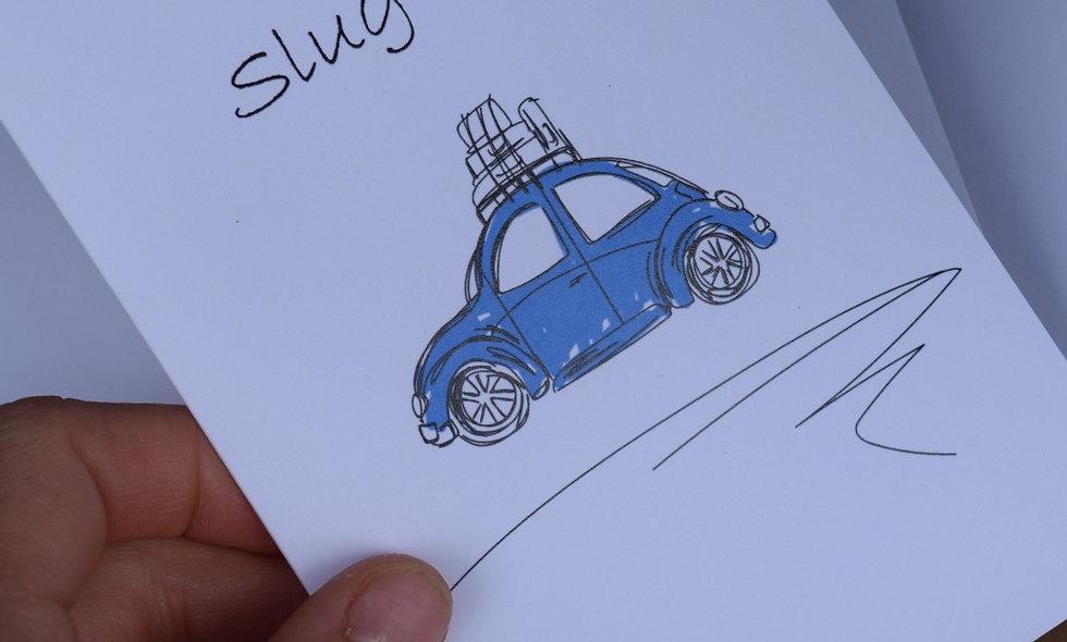 Blue Slug Bug Sketch Card