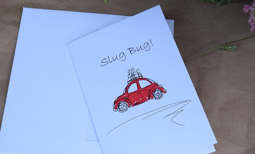 Red Slug Bug Sketch Card